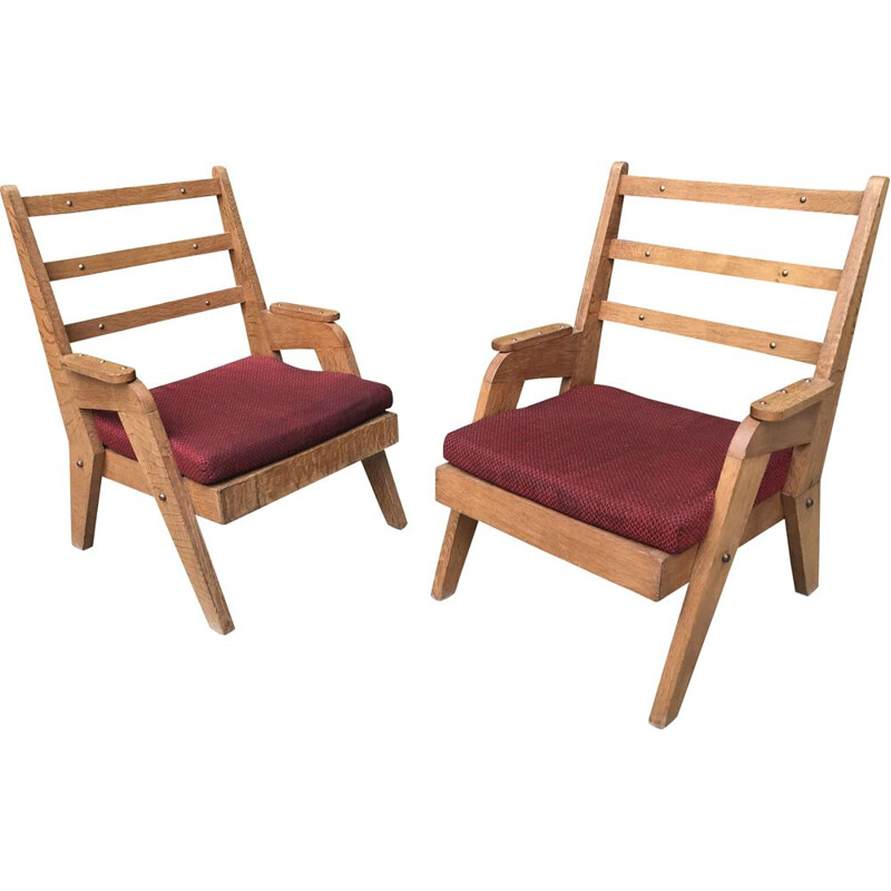 Pair of vintage oak armchairs - 1950's