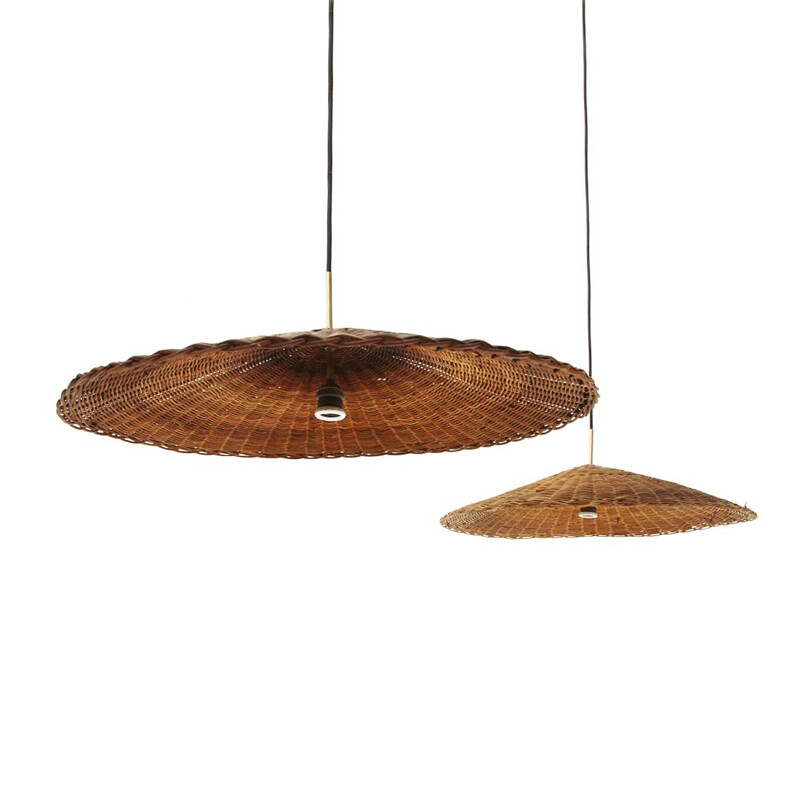 Pair of vintage pendant lamps with rattan shades, 1950s