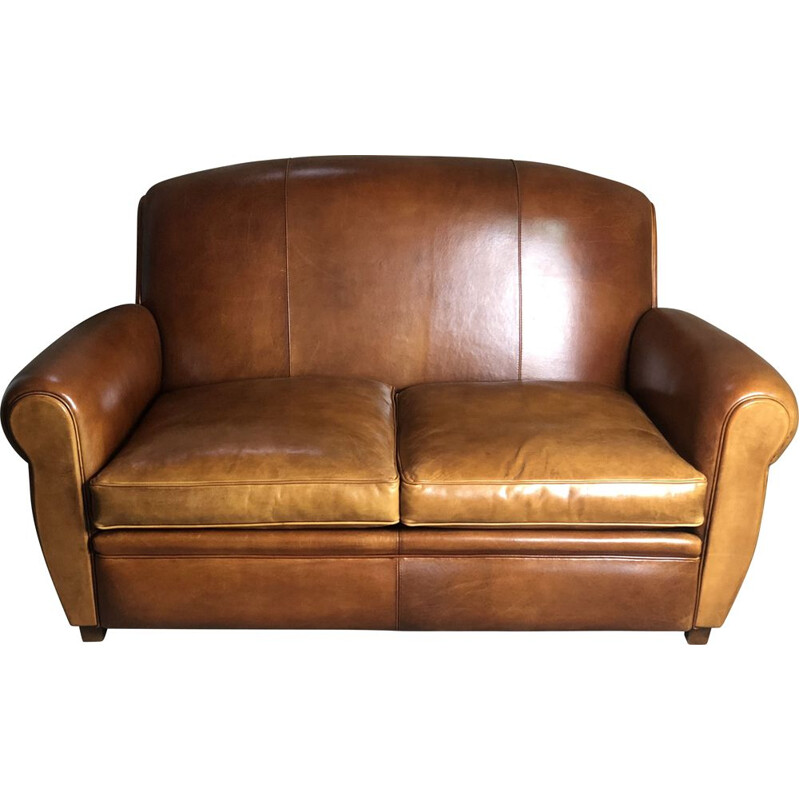 """Vintage """"Club"""" sofa in camel leather 1980"""