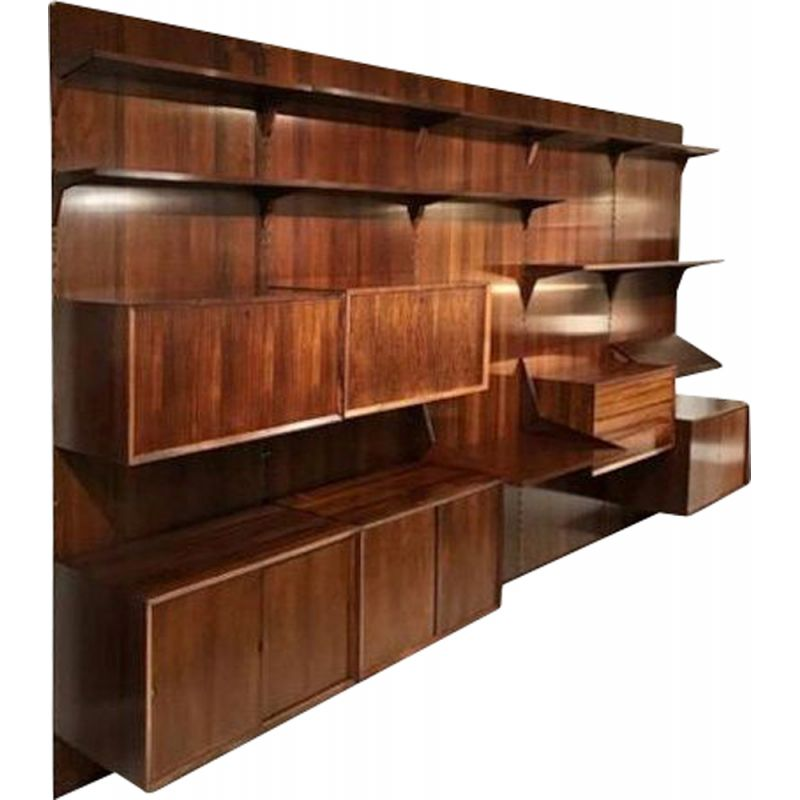 Vintage Wall Console By Poul Cadiovus Royal System In Rosewood For Cado, Denmark 1960