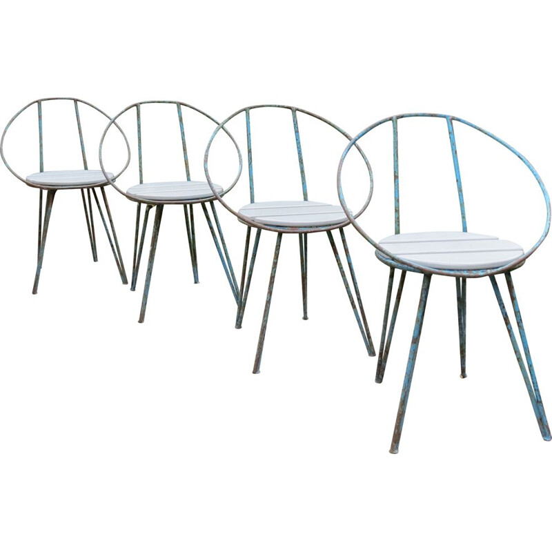 Set of 4 vintage  Blue Metal Garden Chairs 1950s