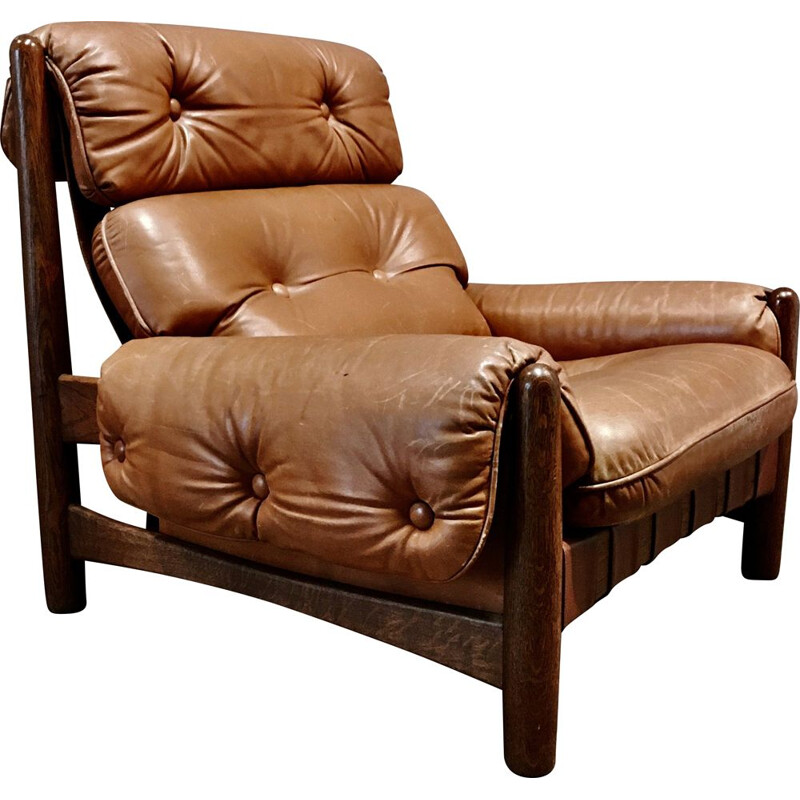 Vintage leather armchair Percival Lafer 1950