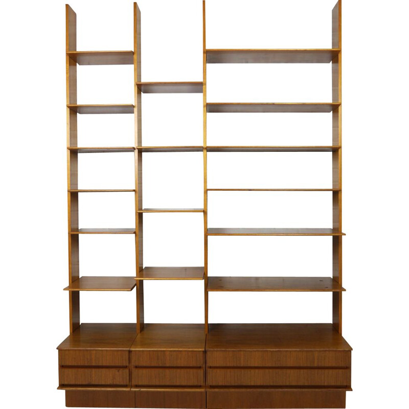 Vintage modular walnut shelf by Peter Petrides for Interna, Germany, 1960s