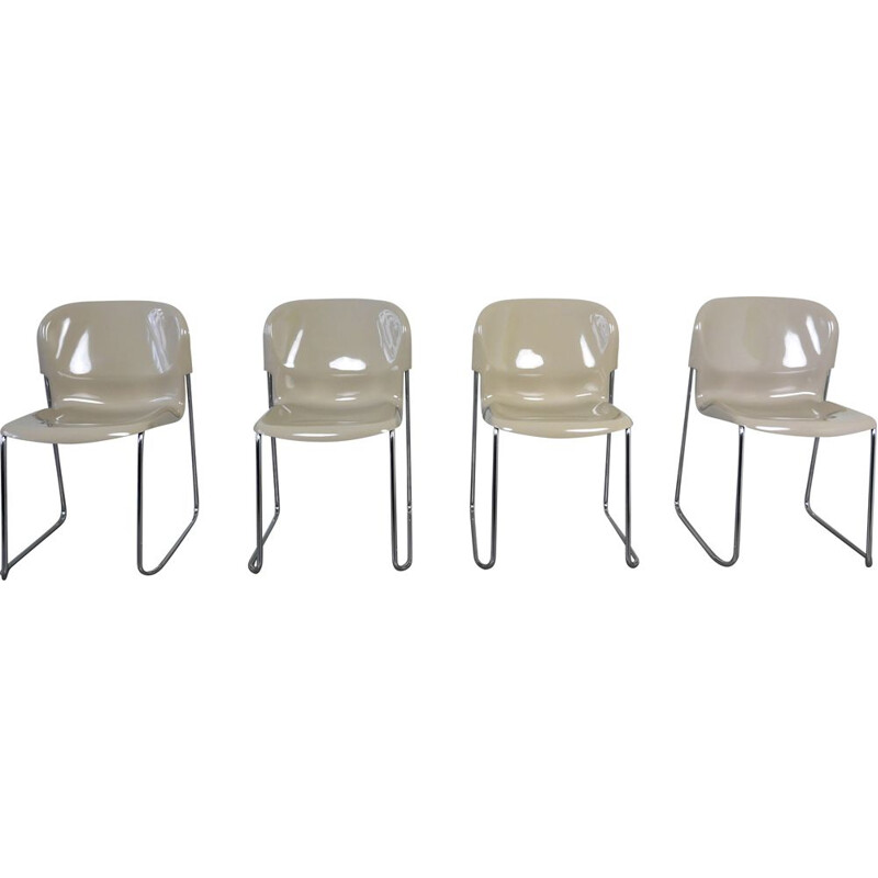 Set of 4 Model Swing Stacking Chairs by Gerd Lange for Drabert, Germany, 1960s