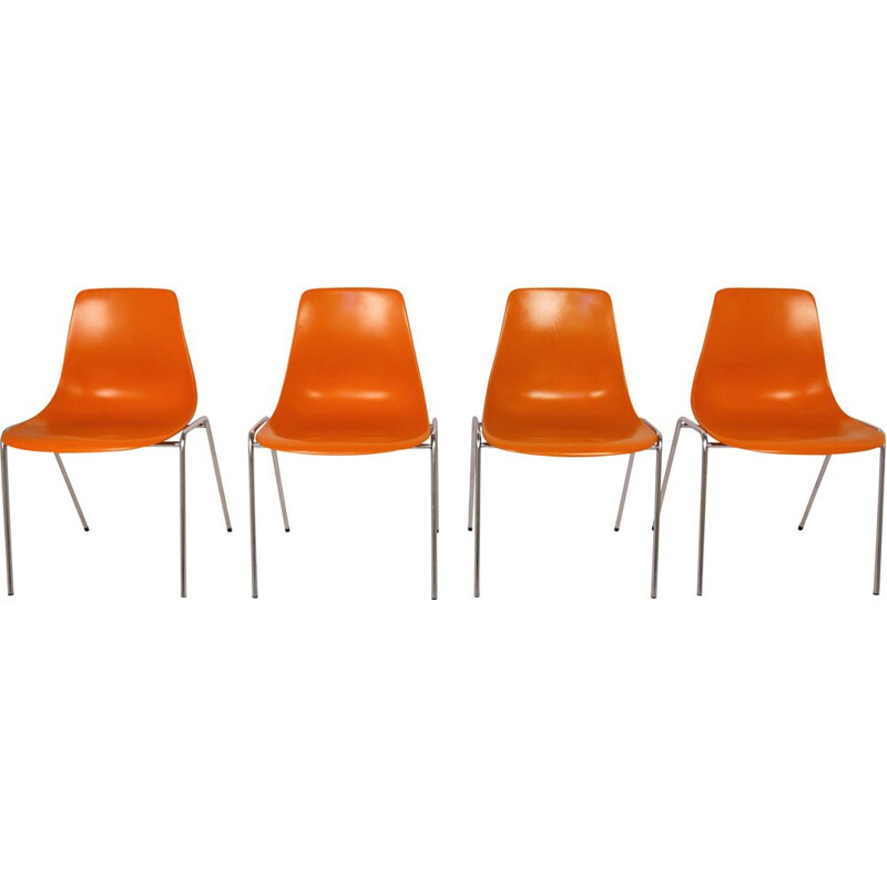 Set of 4 vintage Fiberglas Stacking Chairs by Georg Leowald for Wilkhahn, Germany, 1950s