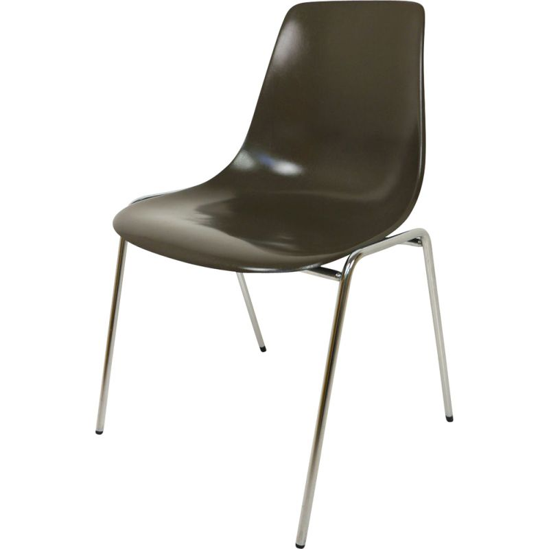 Fiberglas Stacking vintage Chair by Georg Leowald for Wilkhahn, Germany, 1950s