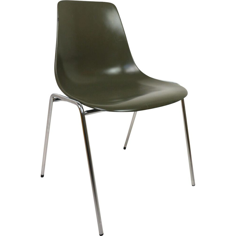 Vintage fiberglas stacking chair by Georg Leowald for Wilkhahn, Germany, 1950s