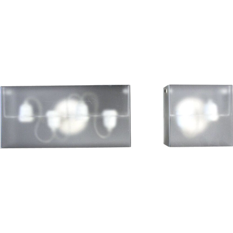 Pair of vintage 'Duplex' wall lamps by Carlo Tamborini for Candle Fontana Arte 2000