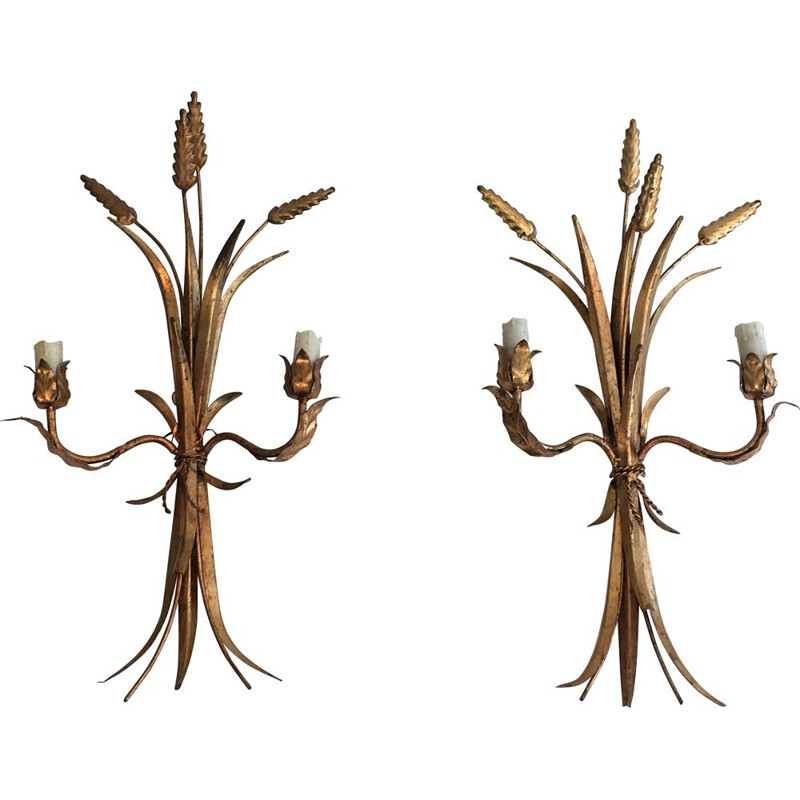 Pair of Vintage Epis de Blé Sconces 1970