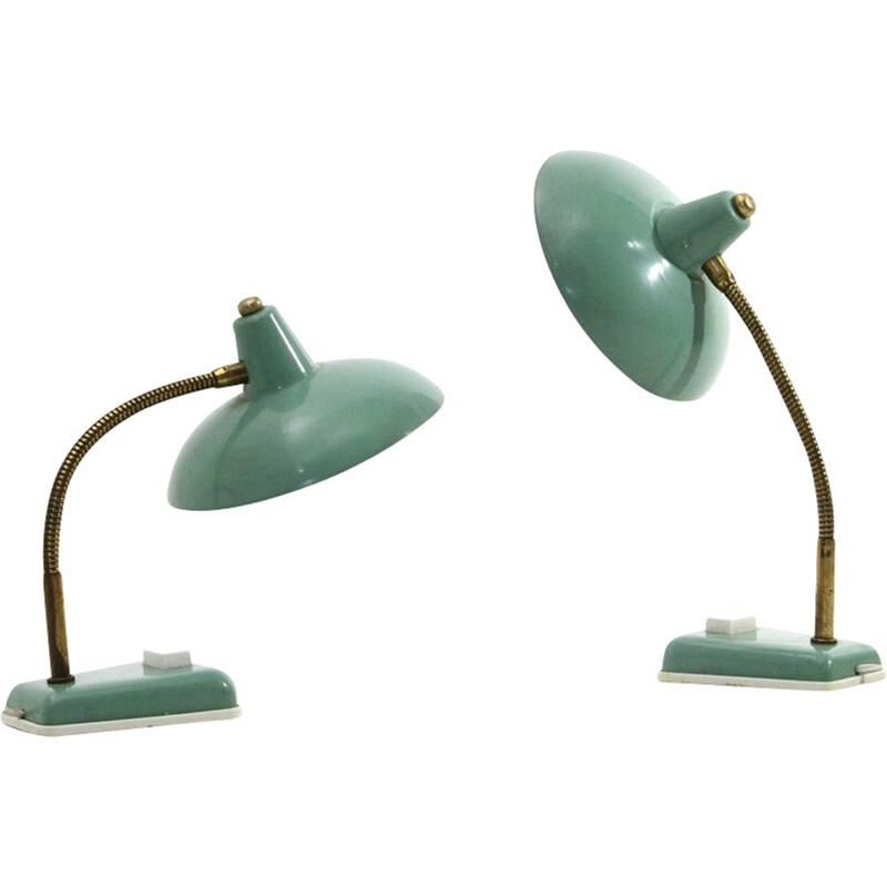 Pair of vintage green table lamps, Italian 1950s