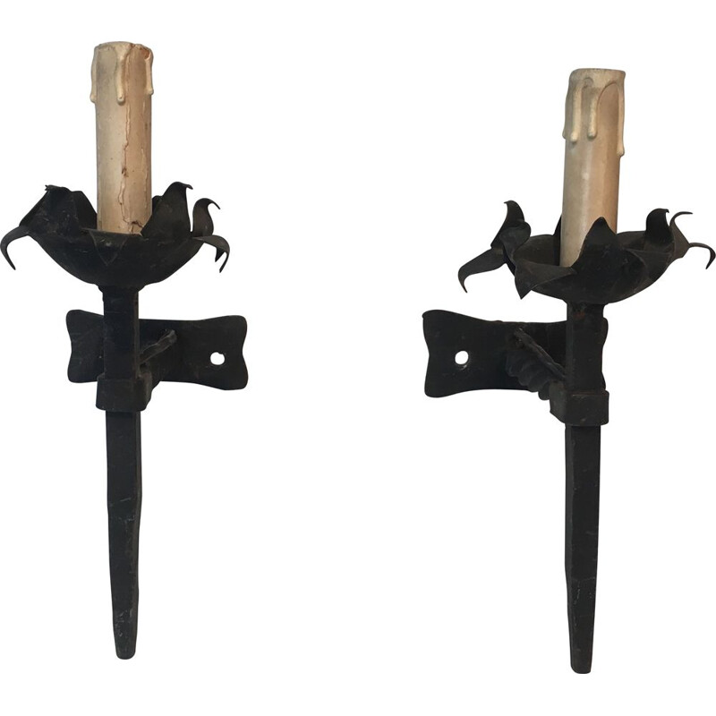 Pair of 1940's Vintage Wrought Iron Sconces
