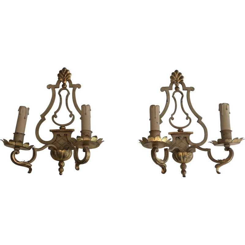 Pair of 1940's Patina Wrought Iron Vintage Wall Sconces