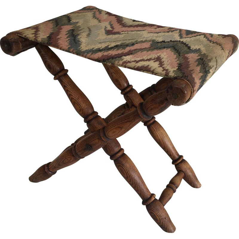 Vintage Folding Wooden and Tapestry Stool 1930