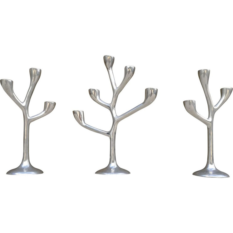 Set of candlesticks 3 vintage organic shape in cast aluminium, 1970