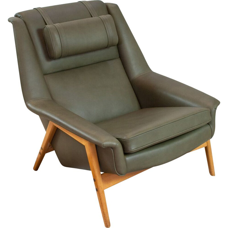 Vintage Folke Ohlsson lounge chair for Fritz Hansen in new leather Danish 1950