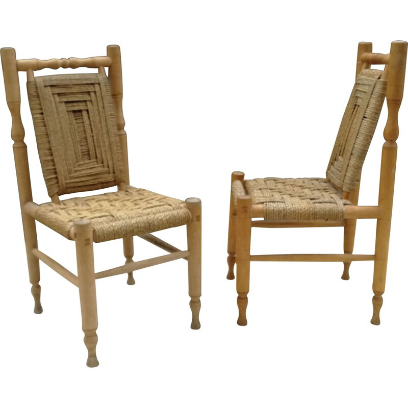 Pair of vintage chairs in wood and braided rope