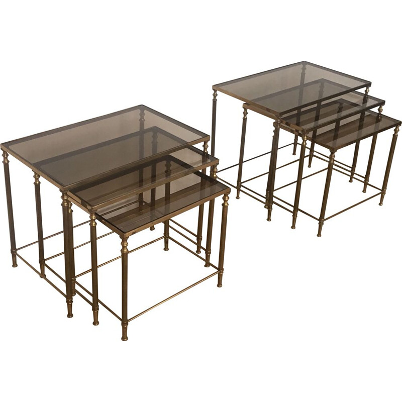 Pair of  Brass Vintage Nesting Table Suites 1940's