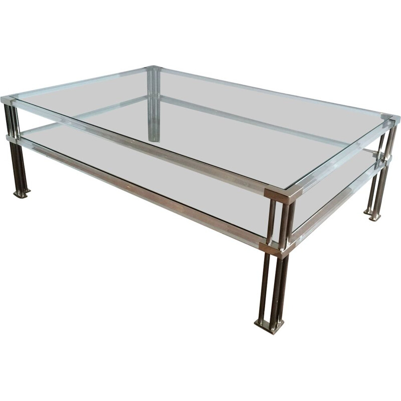 Large Vintage Coffee Table in Chrome and Plexiglass 1970