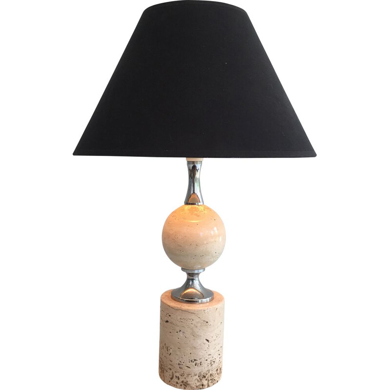 Vintage lamp in Travertine and Chrome 1970