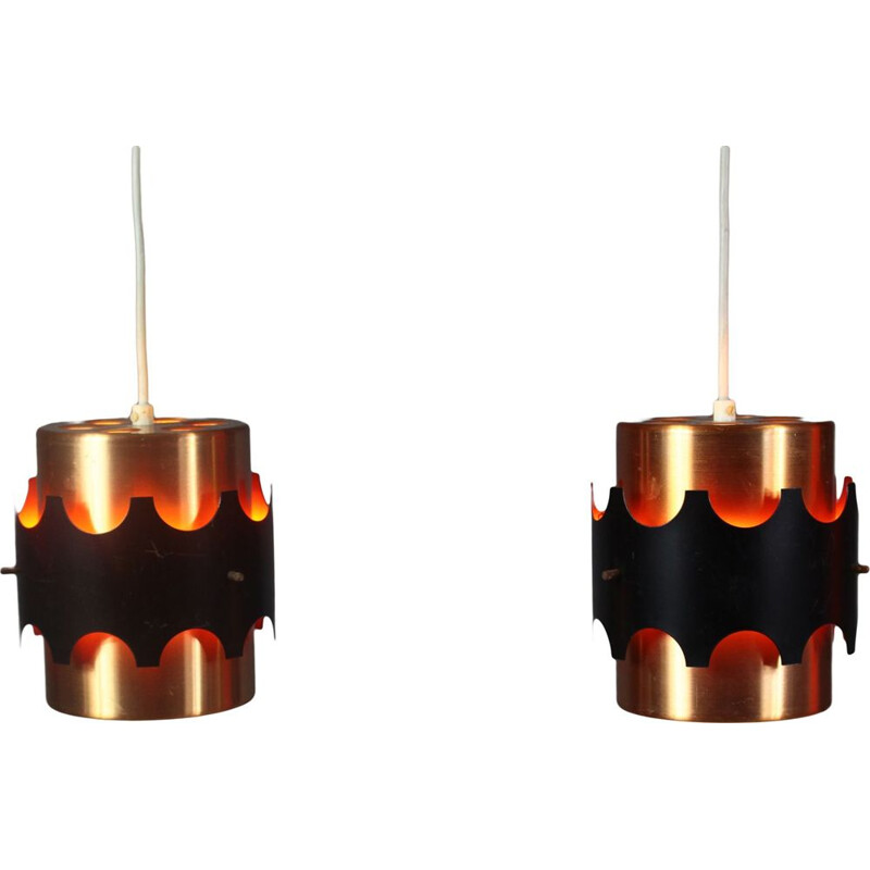 Pair Vintage Pendant Lamp by Jo Hammerborg Danish 1970s