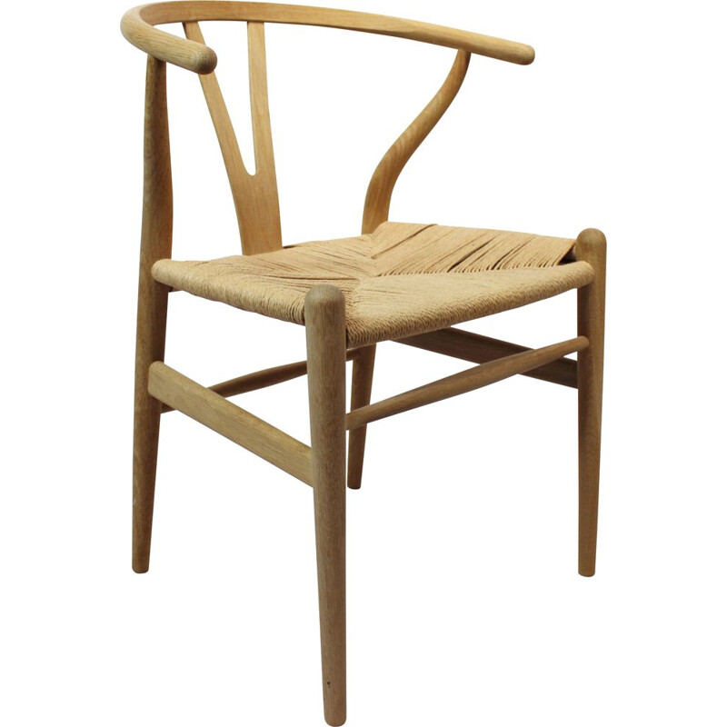 Vintage Y-chairs, model CH24, in oak and paper cord by Hans J. Wegner for Carl Hansen & Son 1960s