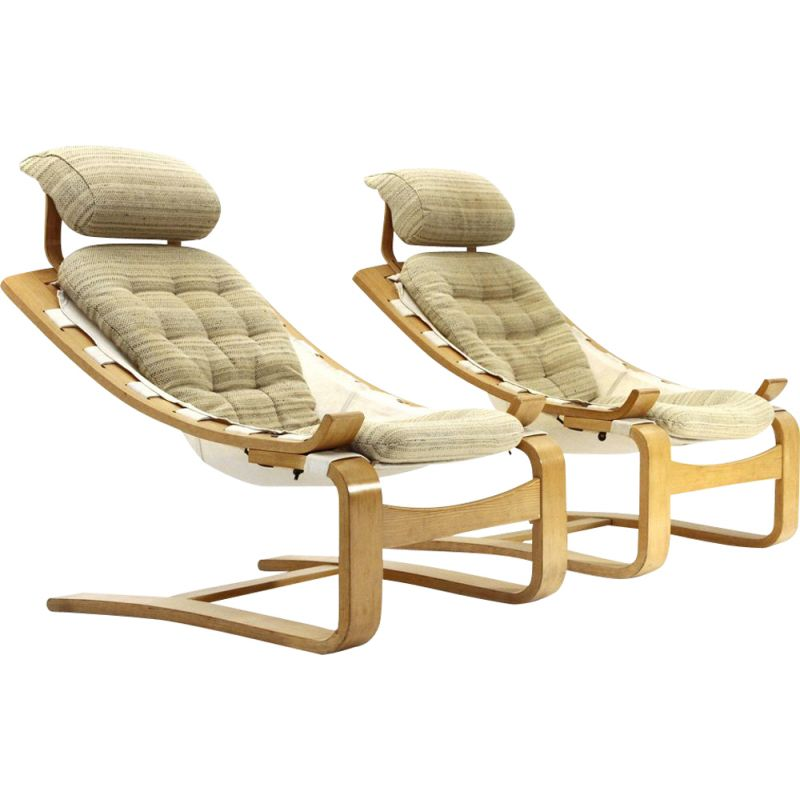 Pair of vintage Kroken armchairs by Ake Fribytter for Nelo Mobel, 1970s