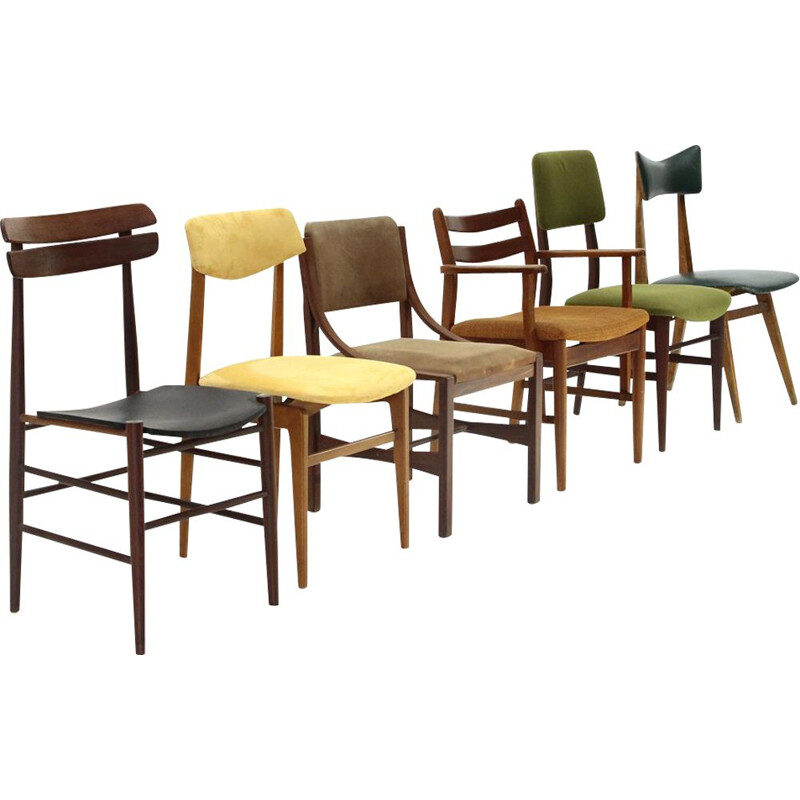Vintage 6 dining chairs mix,Italian  1960s