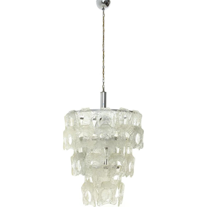 Vintage Chandelier with White Murano Glass Elements, Italian 1970s