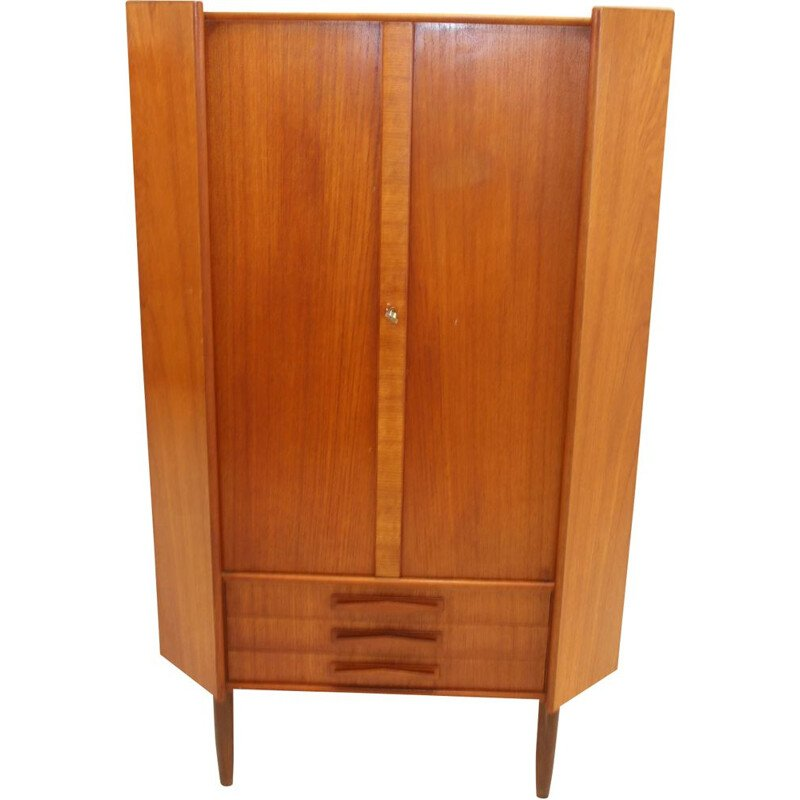 Vintage corner cupboard teak with three drawers and doors Danish