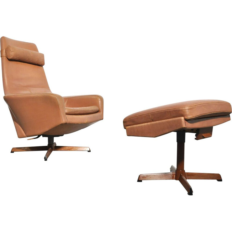 Vintage swivelchair with hocker by Madsen & Schubell for Bovenkamp, Danish 1960s