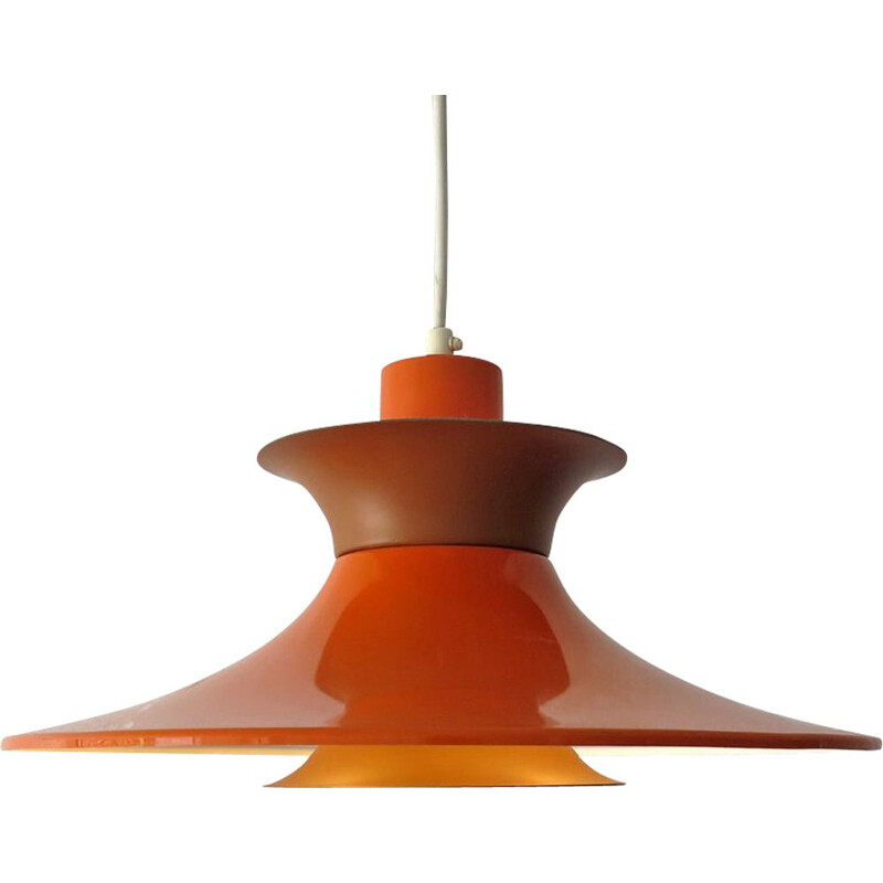 Vintage Pendant Lamp Orange and marron Danish