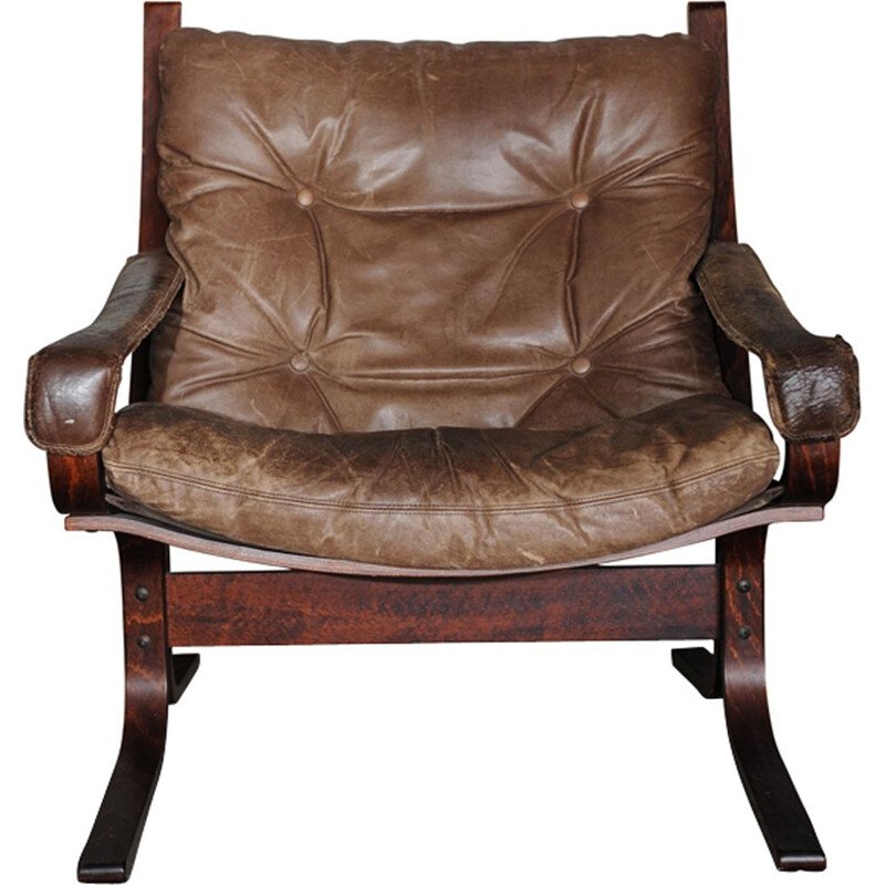 Vintage Brown Leather Siesta Lounge Chair by Ingmar Relling for Westnofa, 1960s