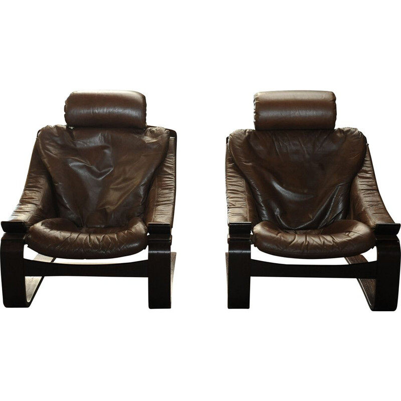 Pair of Vintage Brown Leather Hook Lounge Chair by Åke Fribytter for Nelo Möbel, 1970s