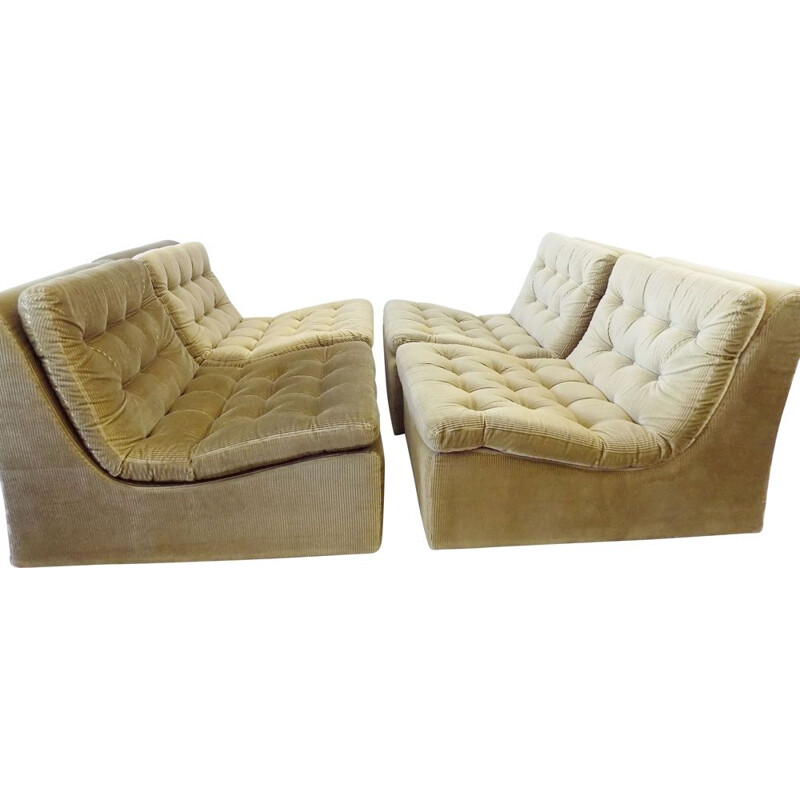 Set of 4 vintage reedgreen modular lounge chairs with ottoman DUX 1970