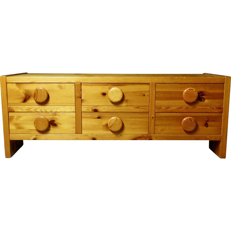 Large vintage chest of drawers in solid Swedish pine 1960