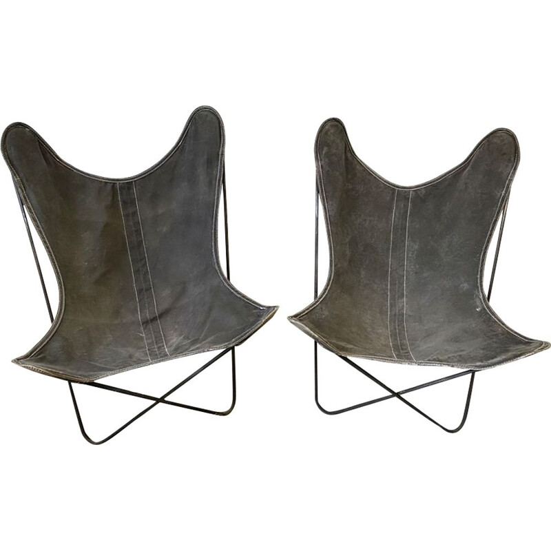Pair of vintage Butterfly AA armchairs by Hardoy Ferrari, Bonet Antoni Kurchan Juan for Knoll and Airborne 1950