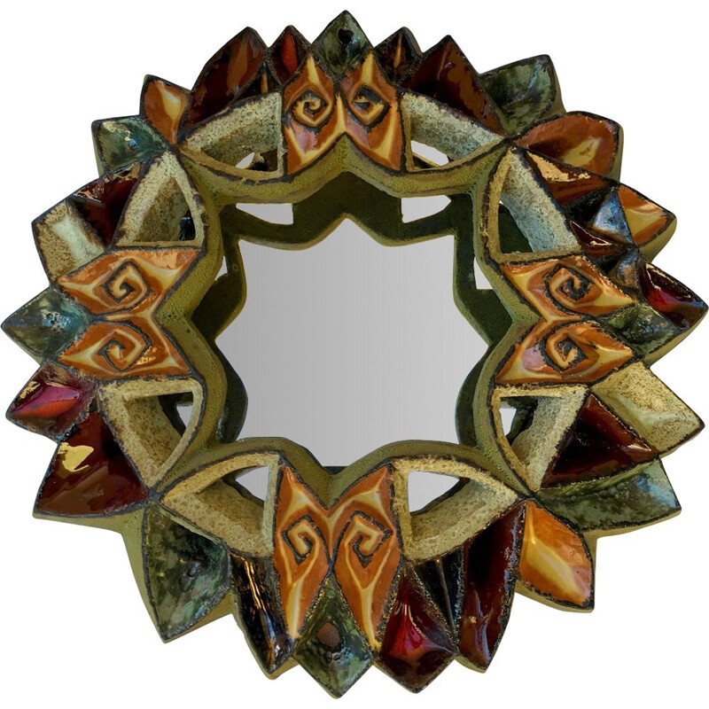 Vintage ceramic sun mirror by Roland Zobel 1970