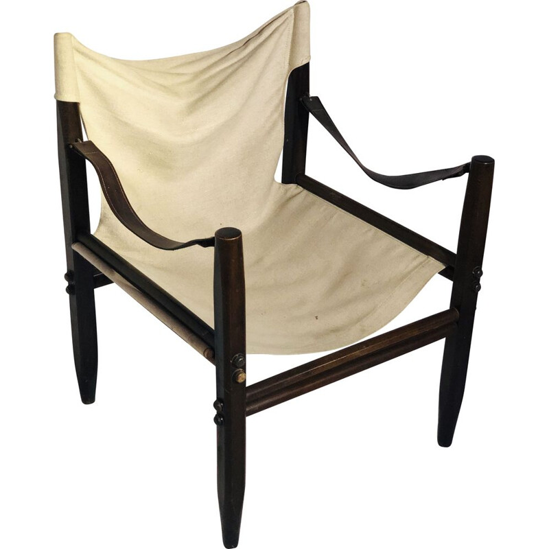 Vintage Oasis armchair in linen and wooden base Zanotta