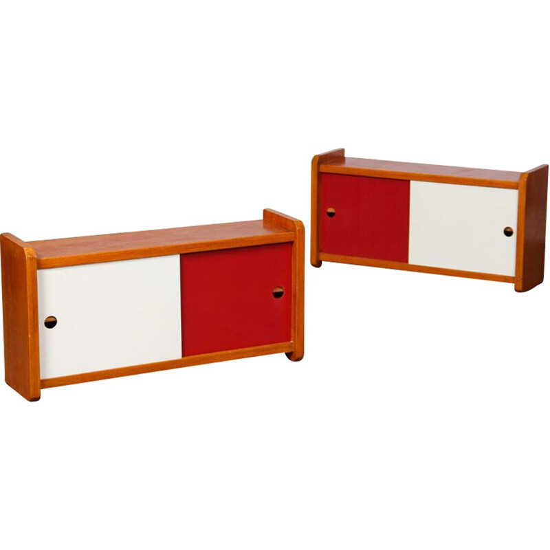 Pair of vintage wooden wall storage units, 1960