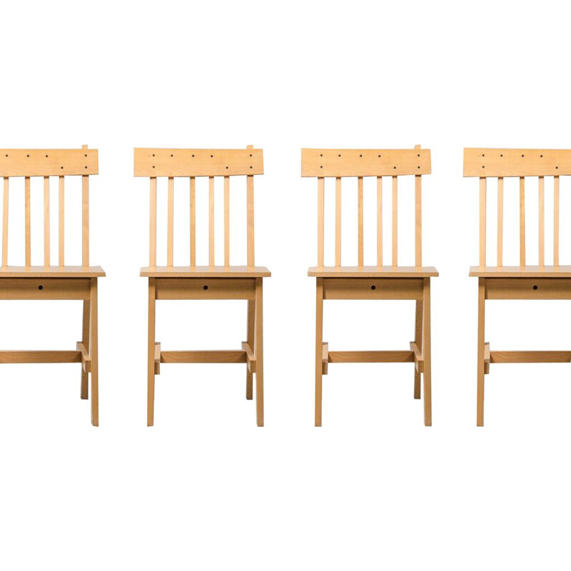 Set of 4 vintage Beech Chairs, German 1980s