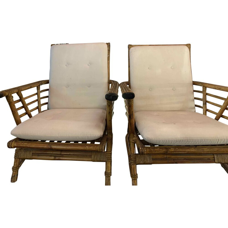 "Pair of vintage bamboo armchairs by ""Maisons & Jardins"" 1960"
