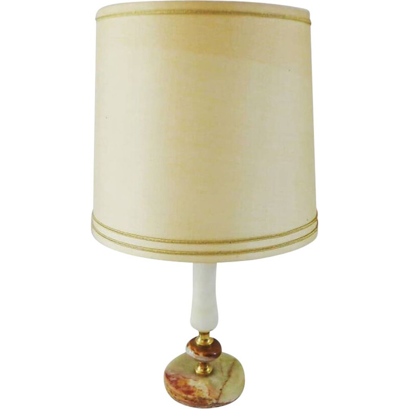 Vintage Table lamp white-cream onyx  1950s