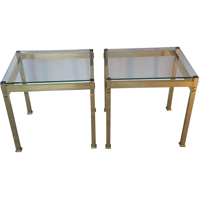 Pair of vintage gold metal tables 1970
