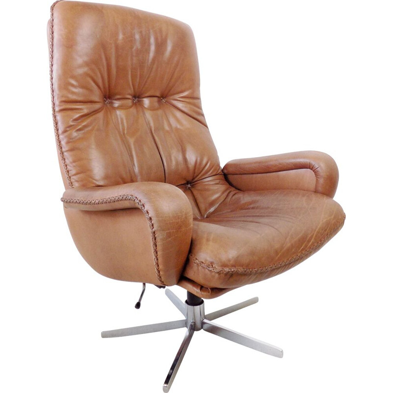 Vintage brown leather armchair De Sede S 231 James Bond