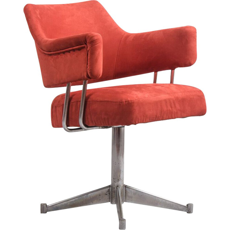 Vintage Steel and Alcantara Swivel Chair, 1970s