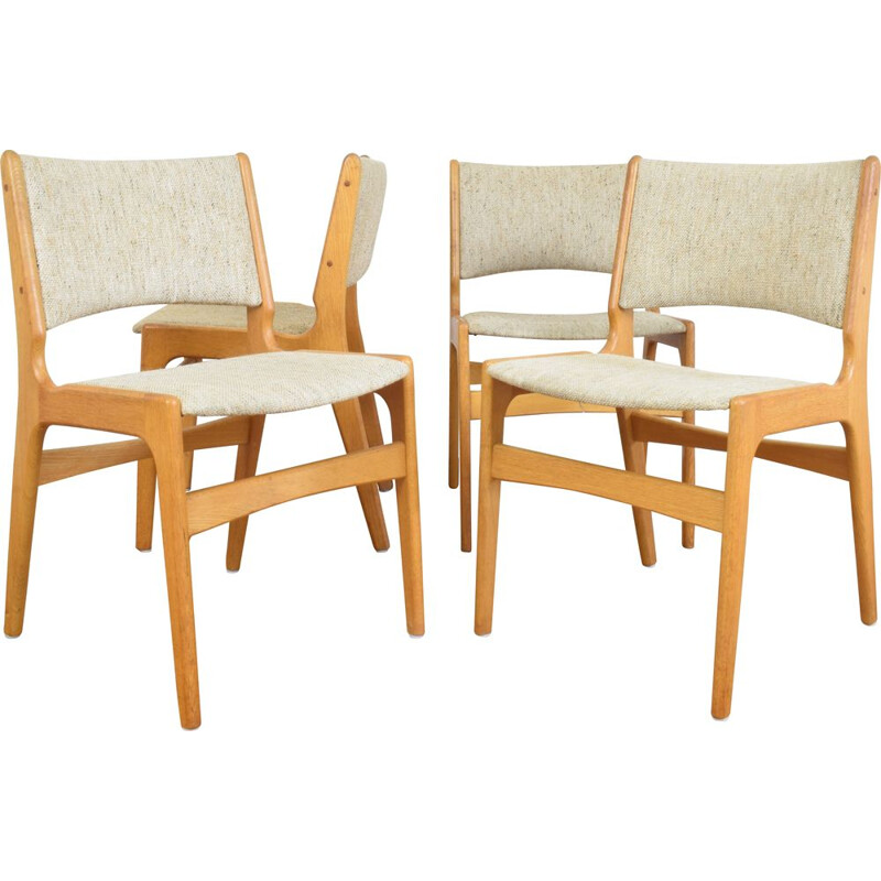 Set of 4 vintage chairs by E. Buch, Danish 1960s