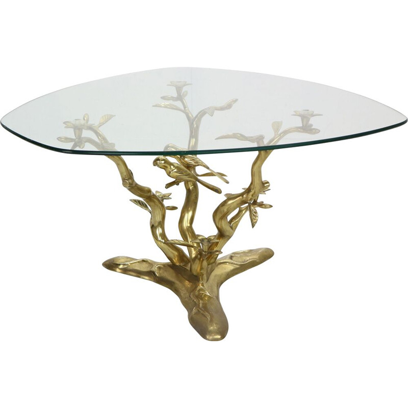 Vintage Sculpture Coffee Table, Belgium Willy Daro Brass & Glass Tree & Birds 1970s