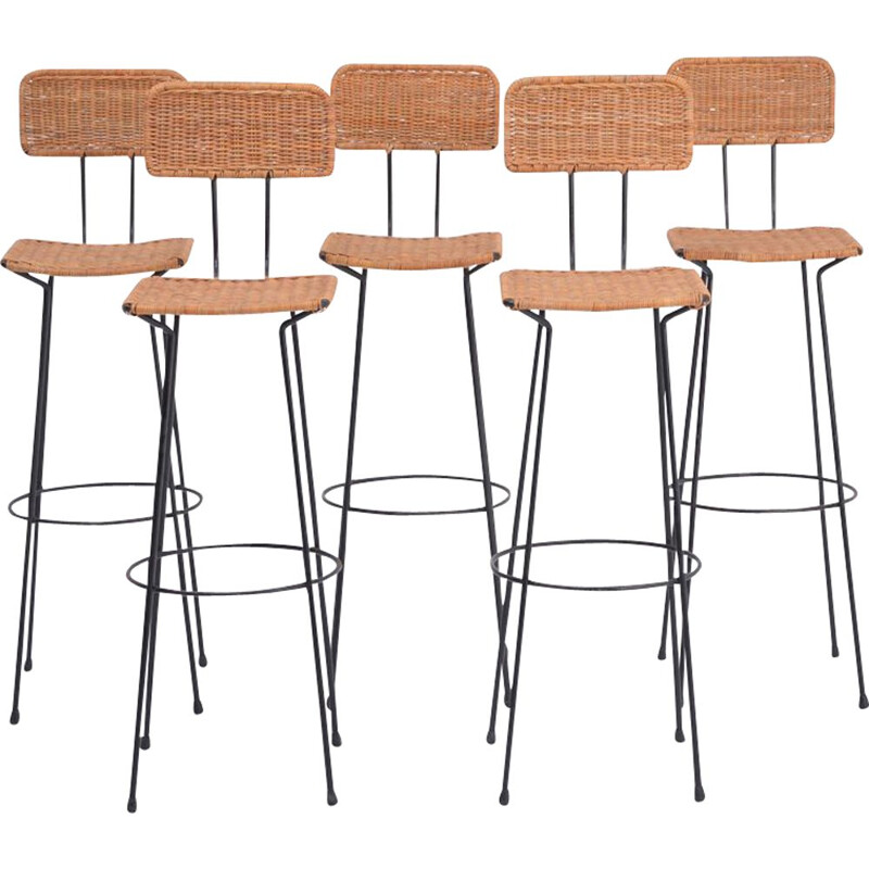 Set of 5 Mid-Century wicker bar stools by Gian Franco Legler 1951