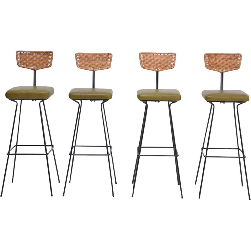 Set of 4 vintage wicker bar stools by Herta Maria Witzemann for Erwin Behr 1950