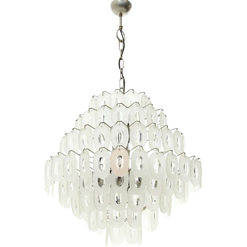 Vintage Chandelier with Glass Elements, Italian 1970s